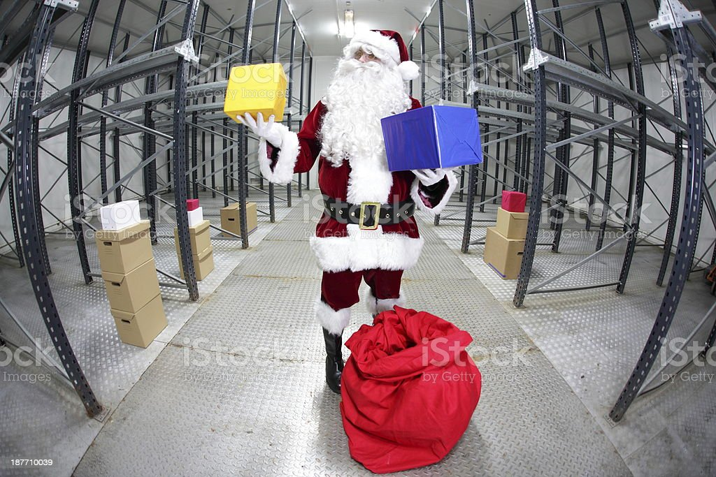 Last minute Santa Claus - gifts selection royalty-free stock photo