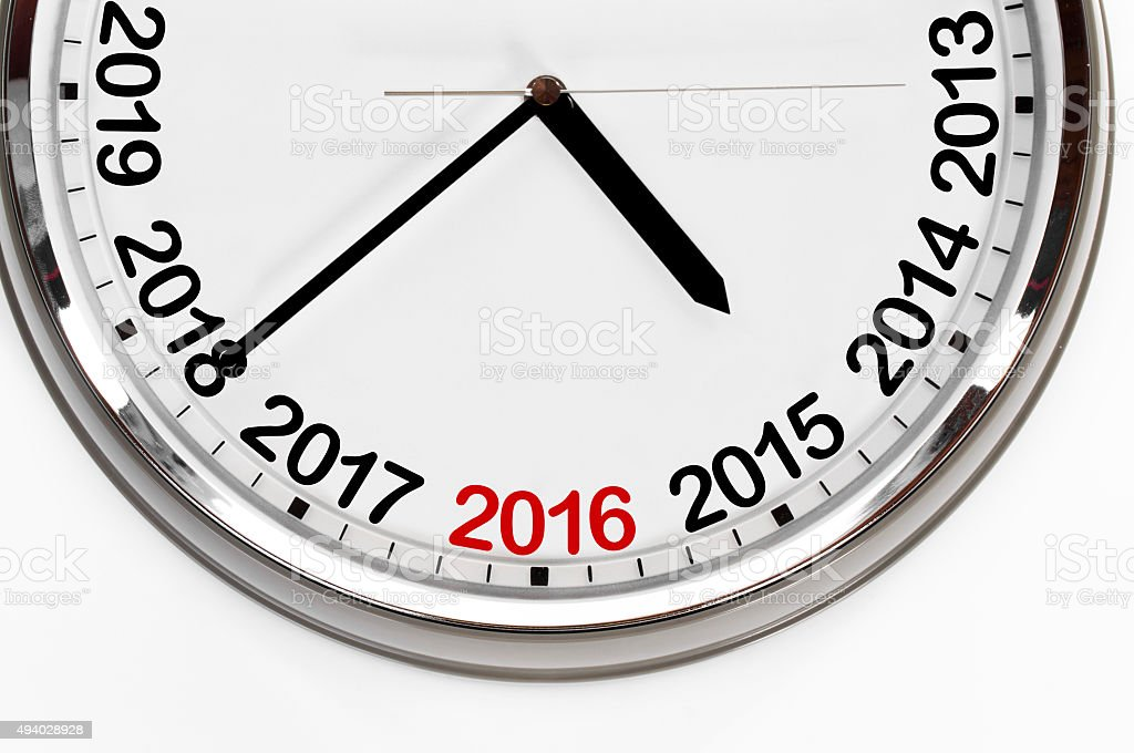 Last minutes to 2016 stock photo