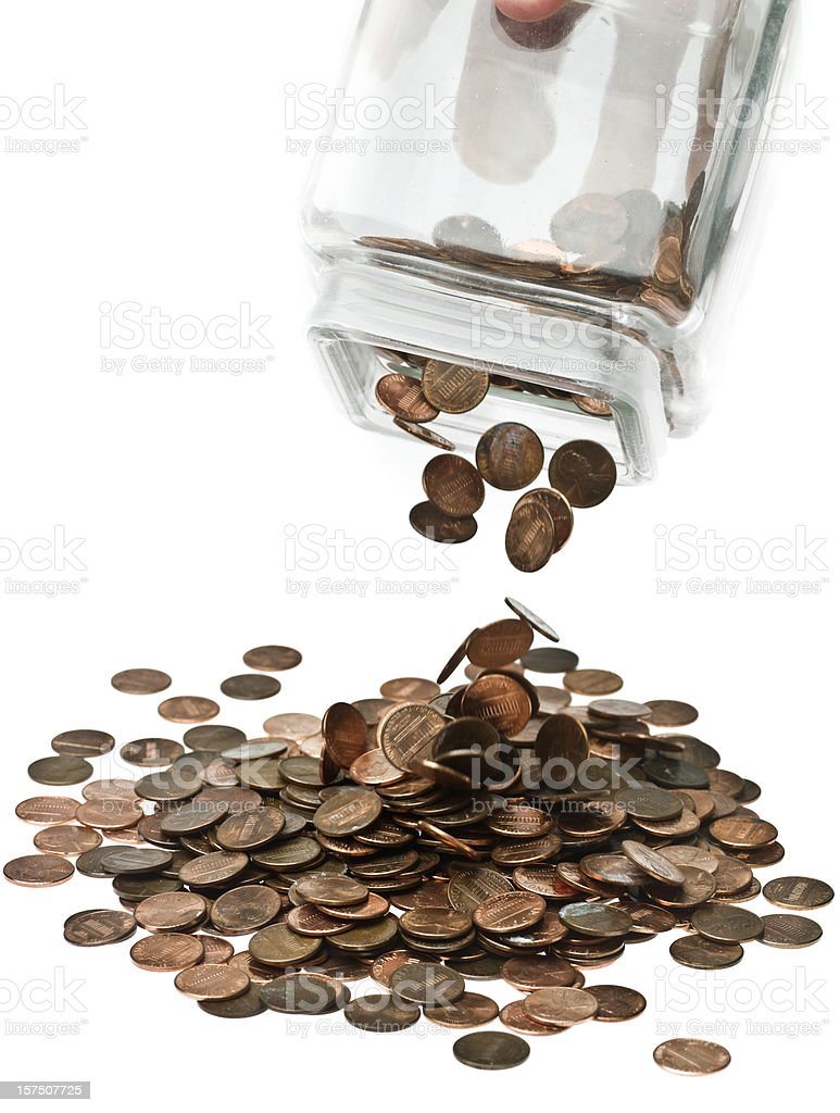 Last of months wages shaken from savings jar. stock photo
