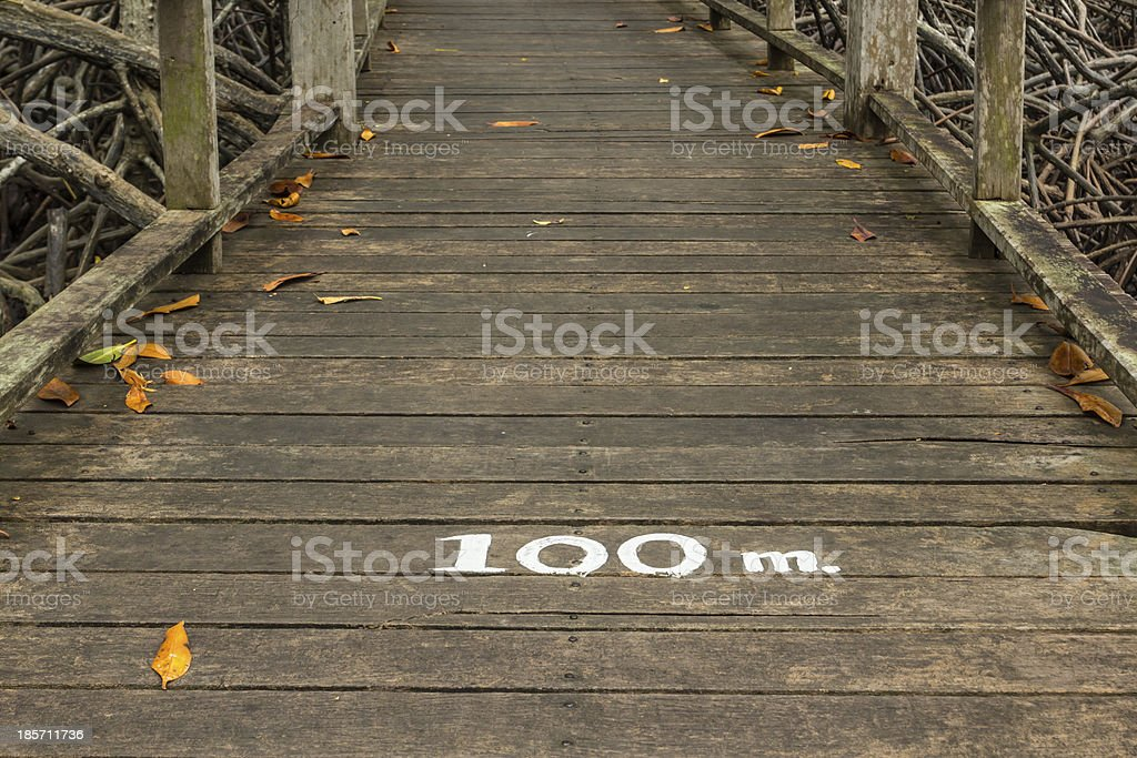 Last one hundredst  meters stock photo