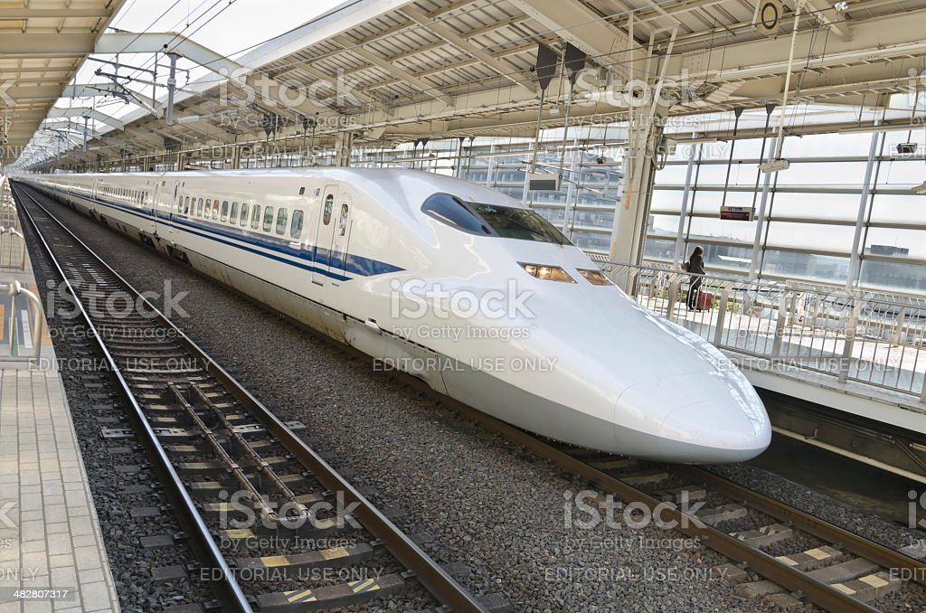 Last passenger  waiting for  the bullet train stock photo