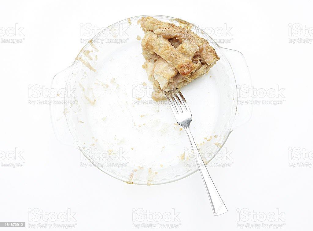 Last Piece of Homemade Apple Pie on White stock photo