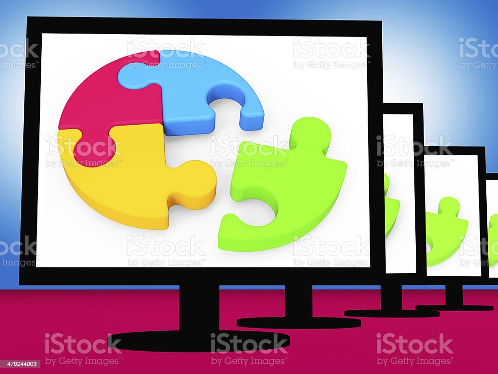 Last Piece On Monitors Shows Completion royalty-free stock photo
