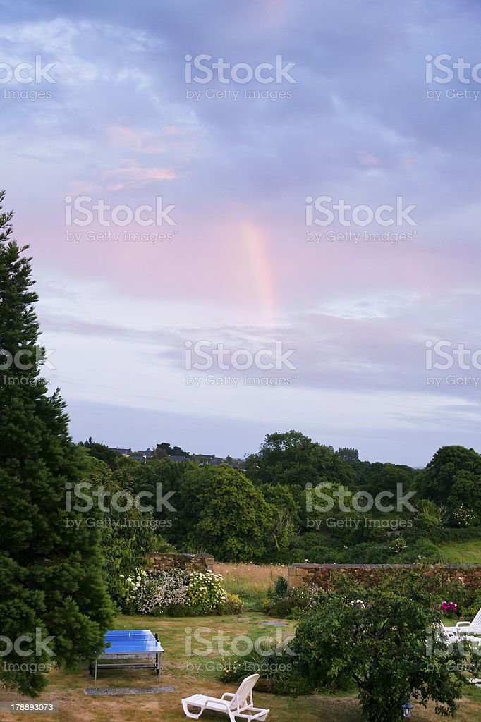 Last pink beam of the setting sun royalty-free stock photo