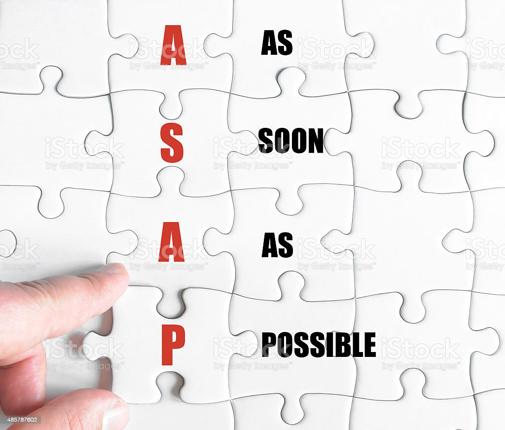 Last puzzle piece with Business Acronym ASAP stock photo