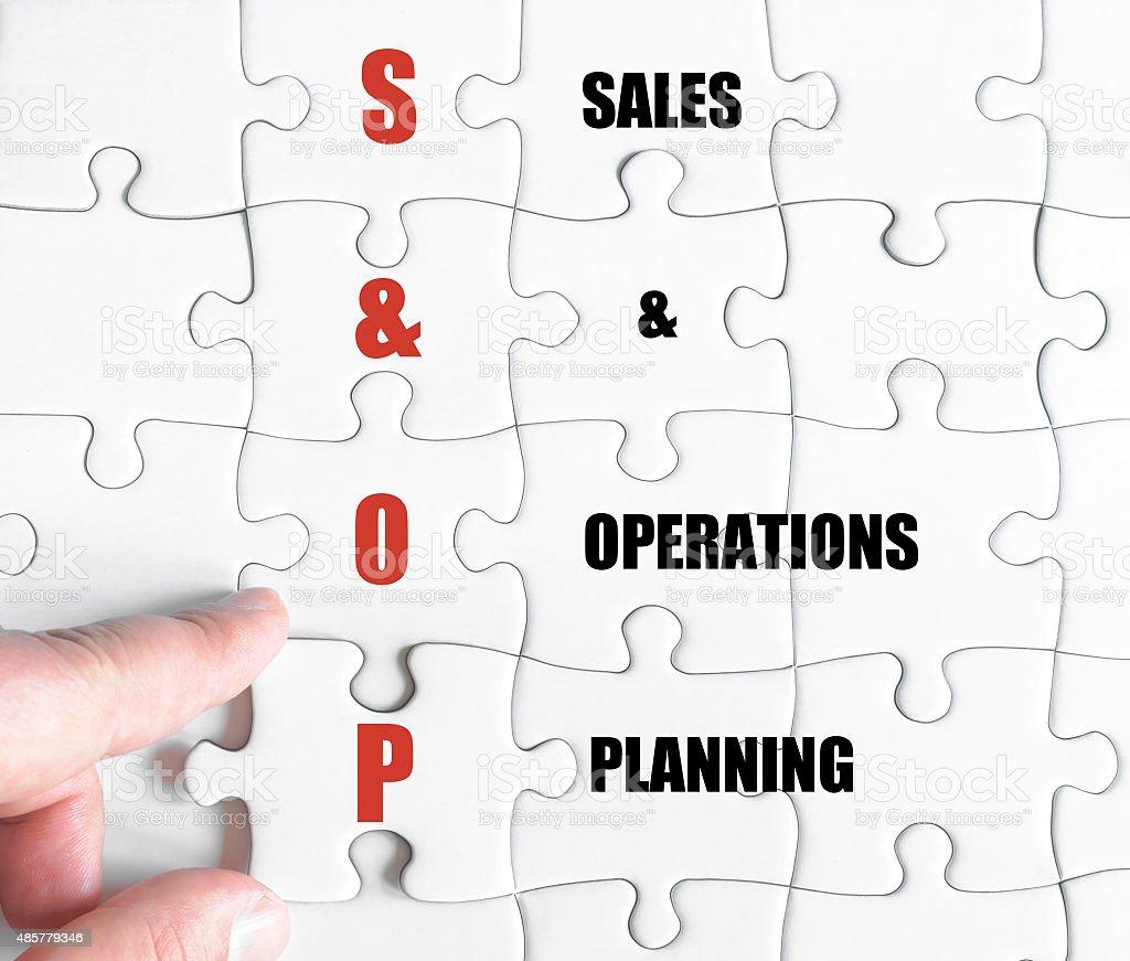 Last puzzle piece with Business Acronym SOP stock photo