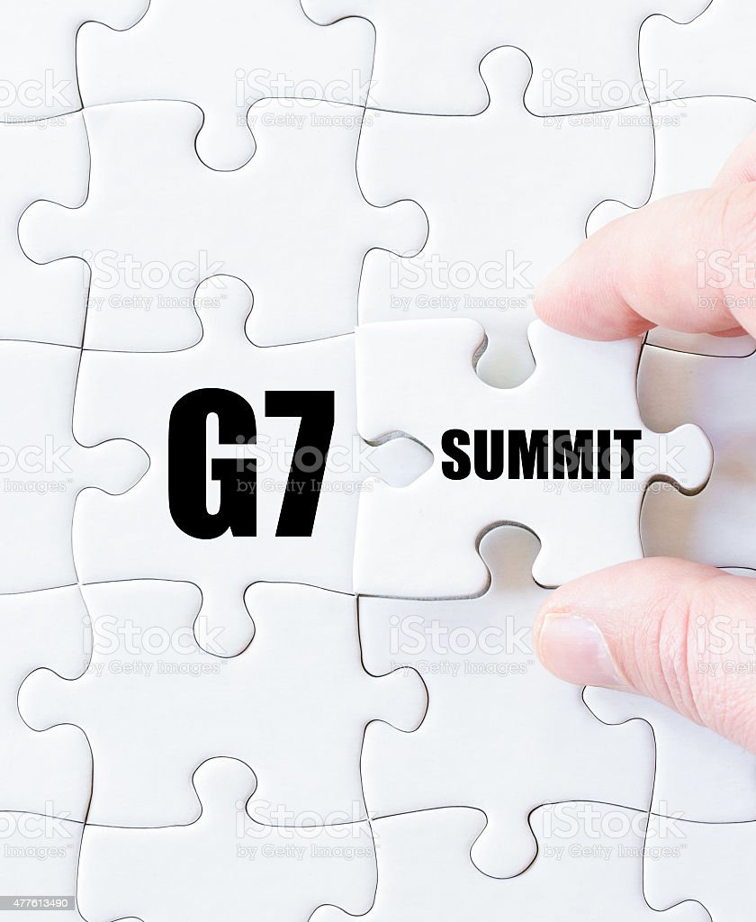 Last puzzle piece with word G7 SUMMIT stock photo