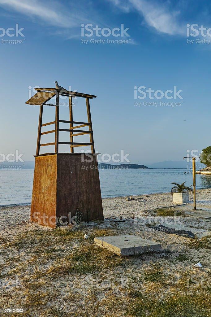 Last rays of sun on beach of Thassos town, Greece stock photo
