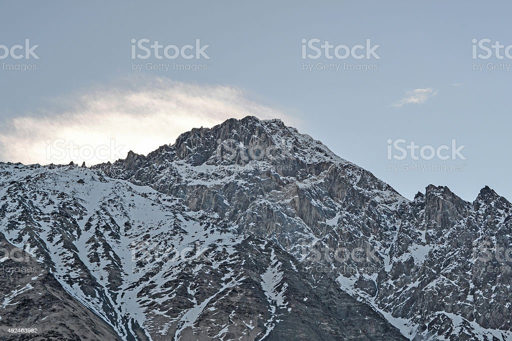 Last rays of the sun on the mountaintop, Georgia stock photo
