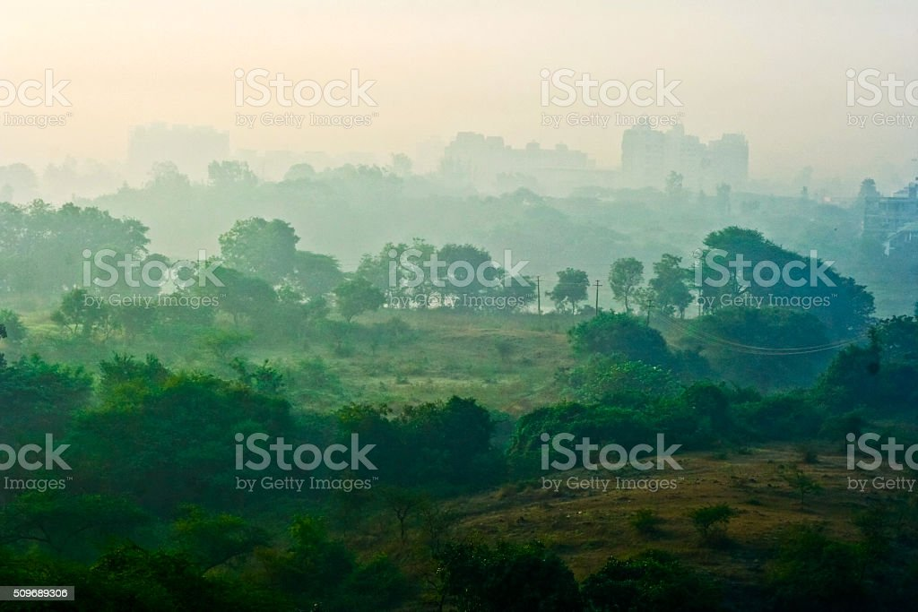 Last remaining green patch of land stock photo