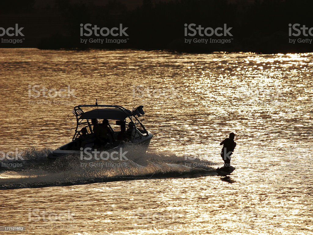 Last Run Of The Day (Wakeboarder) stock photo