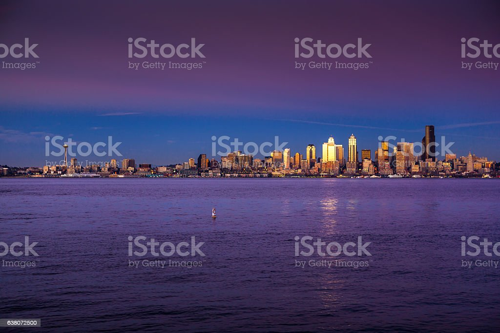 Last Sunlight of the Day Shining on Seattle stock photo