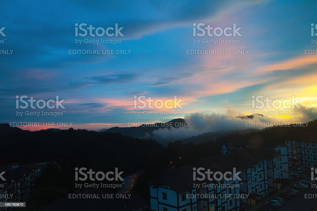 Last sunset light over Tanah Rata stock photo