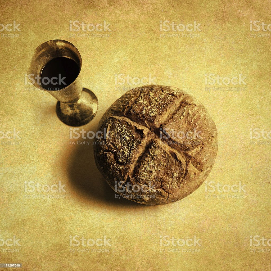 Last Supper - bread and wine stock photo