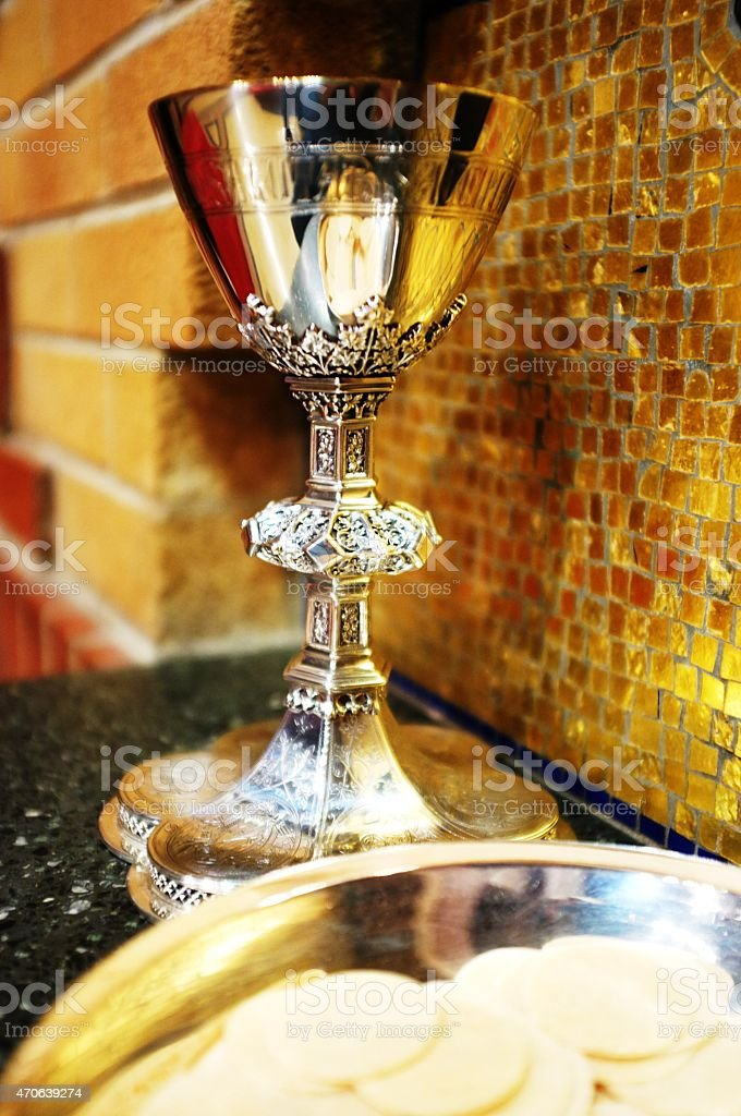 Last Supper Chalice and the Eucharist stock photo