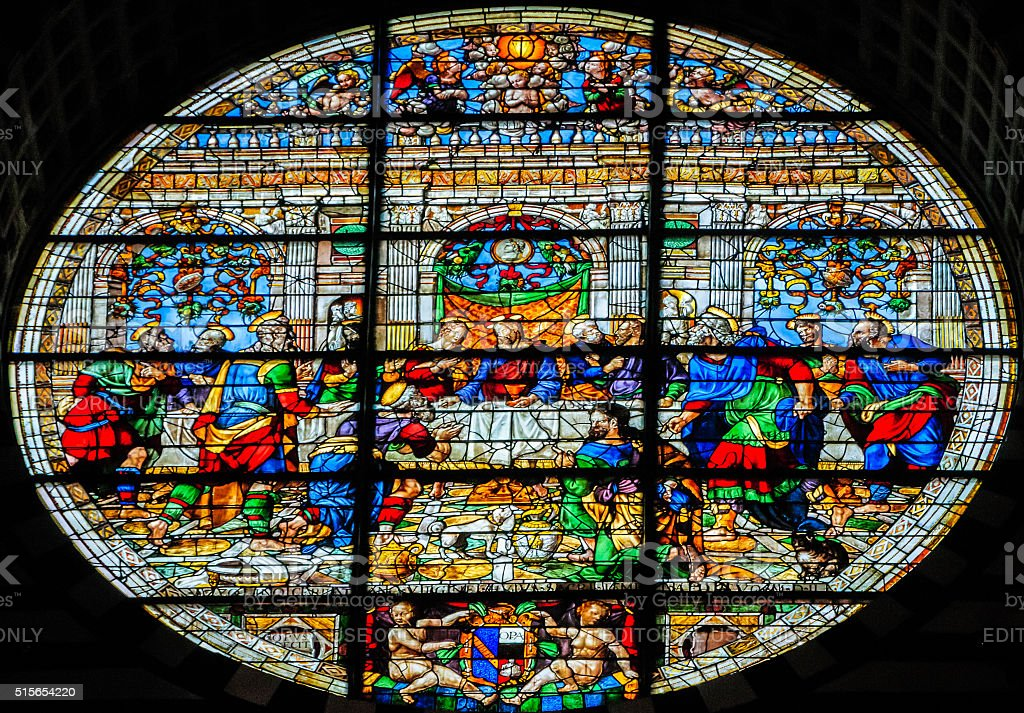 Last Supper in Stained Glass stock photo
