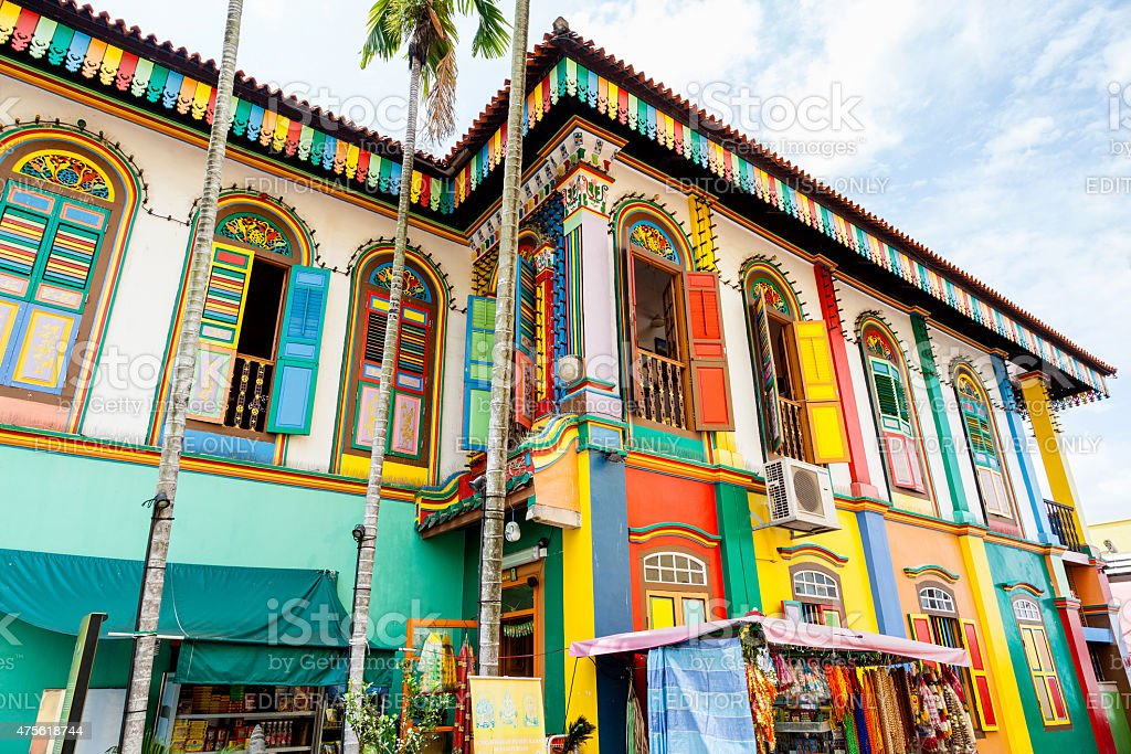 Last Surviving Chinese Villa in Little India, Singapore stock photo