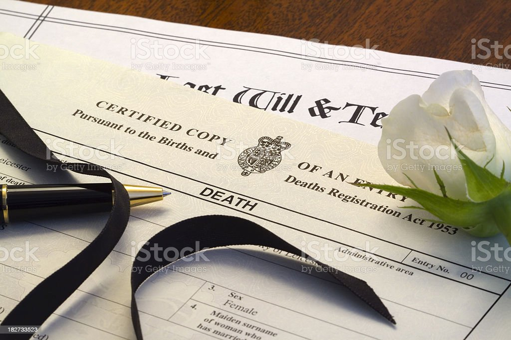 Last Will and Death Certificate stock photo