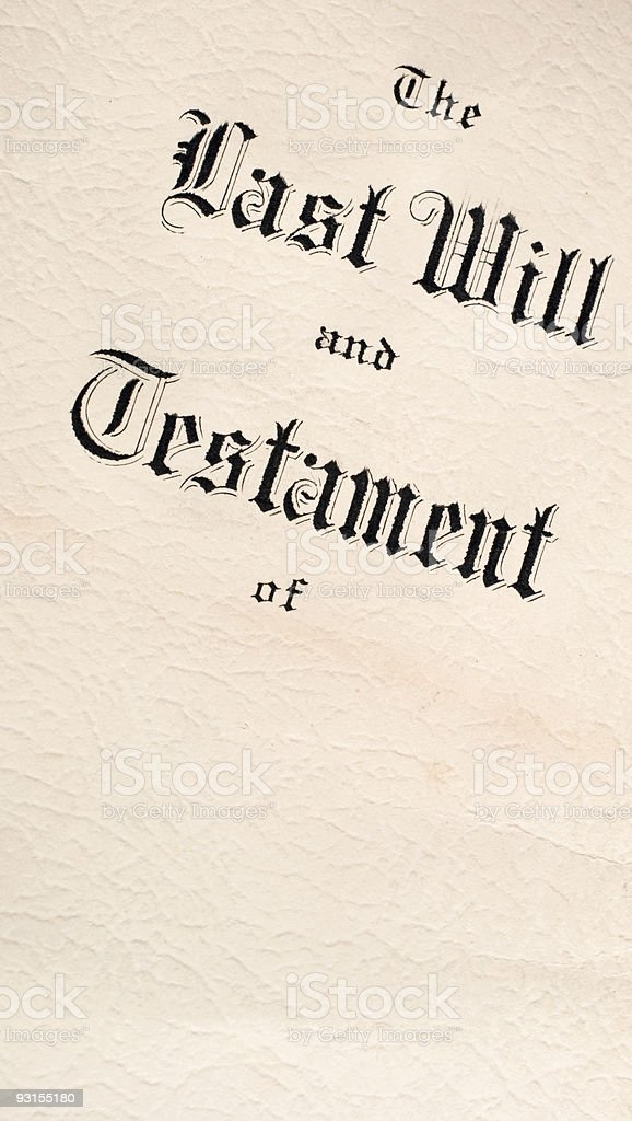 Last Will And Testament Document On Old Paper With Copyspace royalty-free stock photo