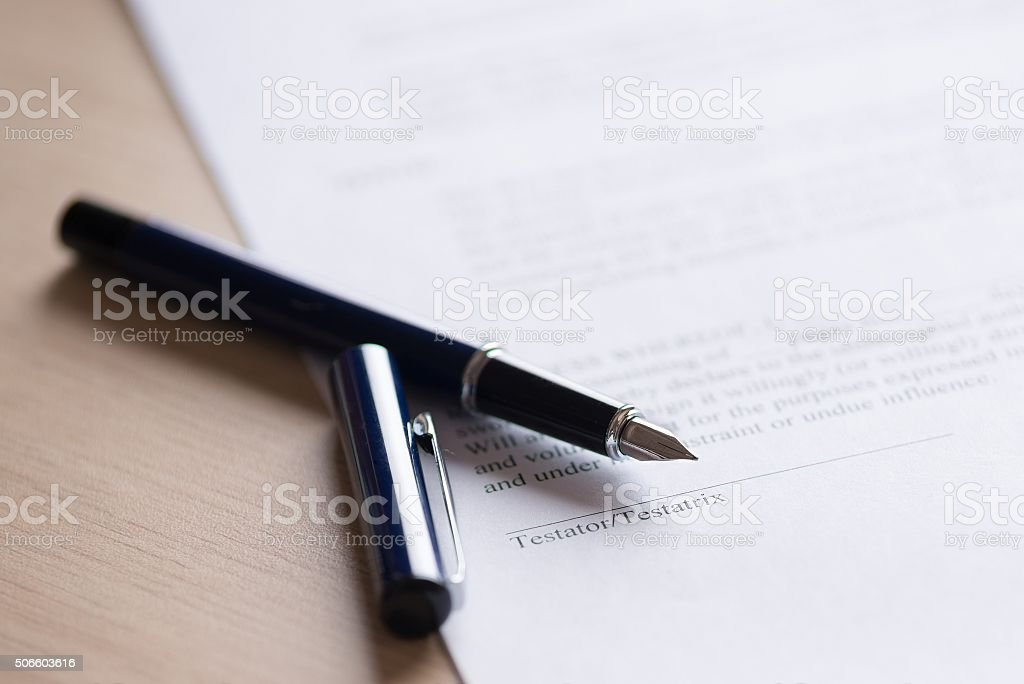 Last Will and testament document with pen stock photo