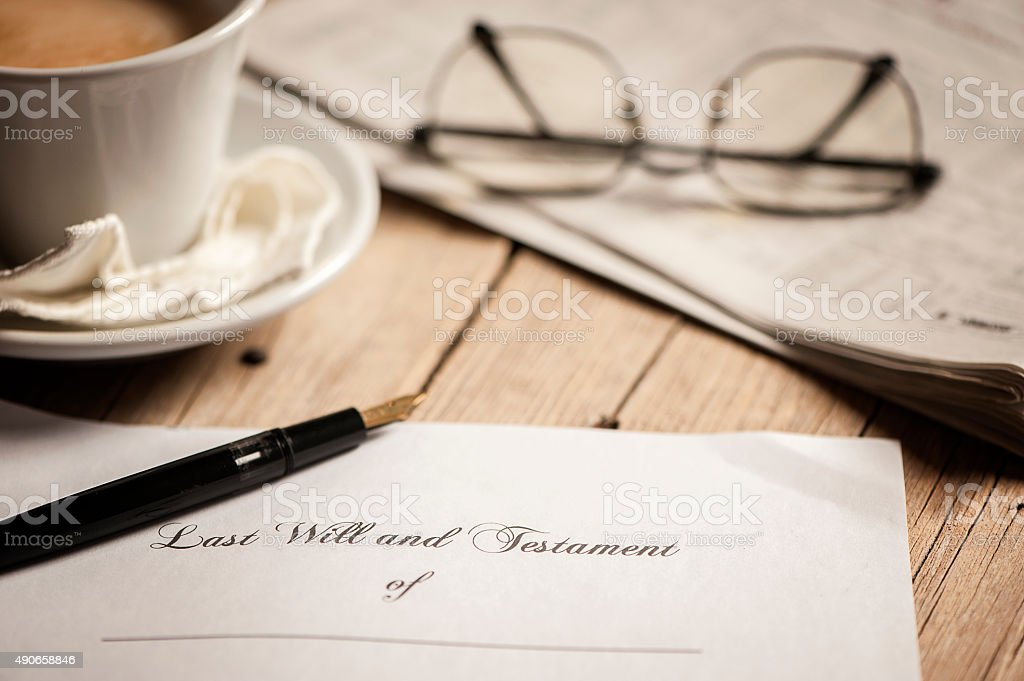 Last will and testament form stock photo