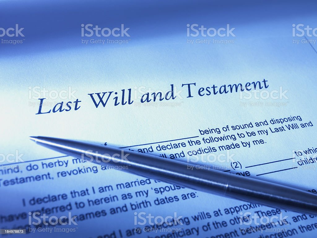Last will and Testament script with pen on top royalty-free stock photo