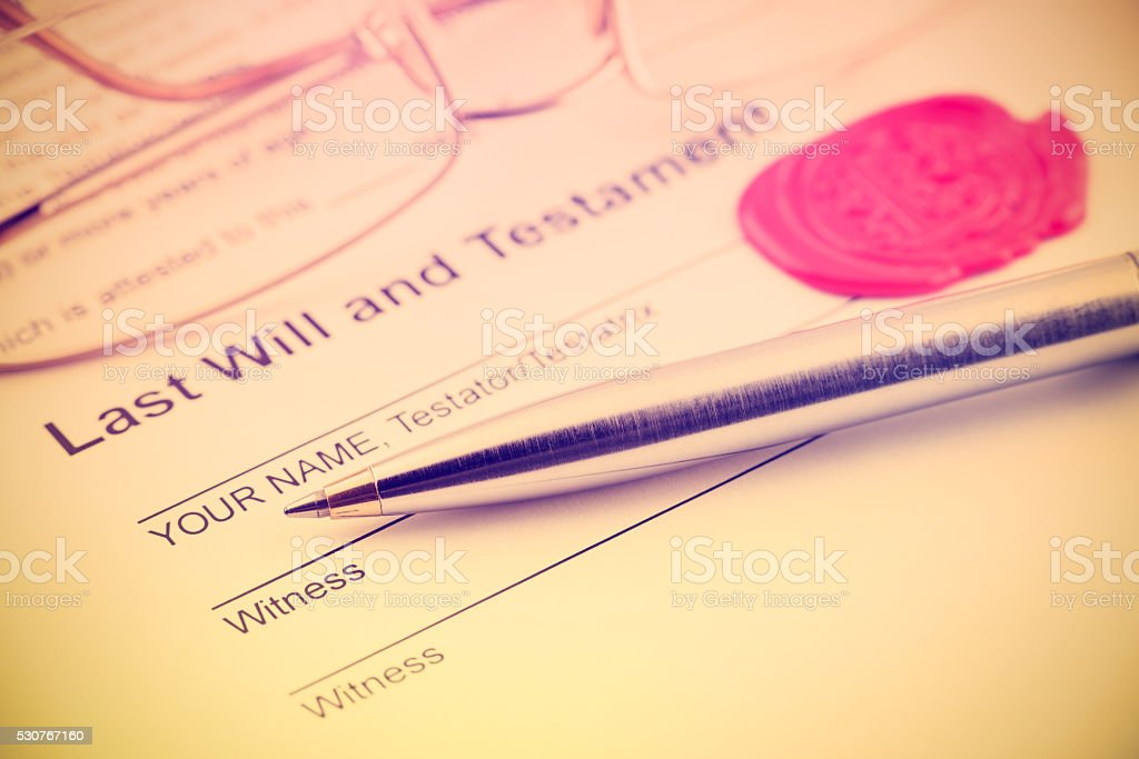 Last will and testament sealed with wax seal. stock photo