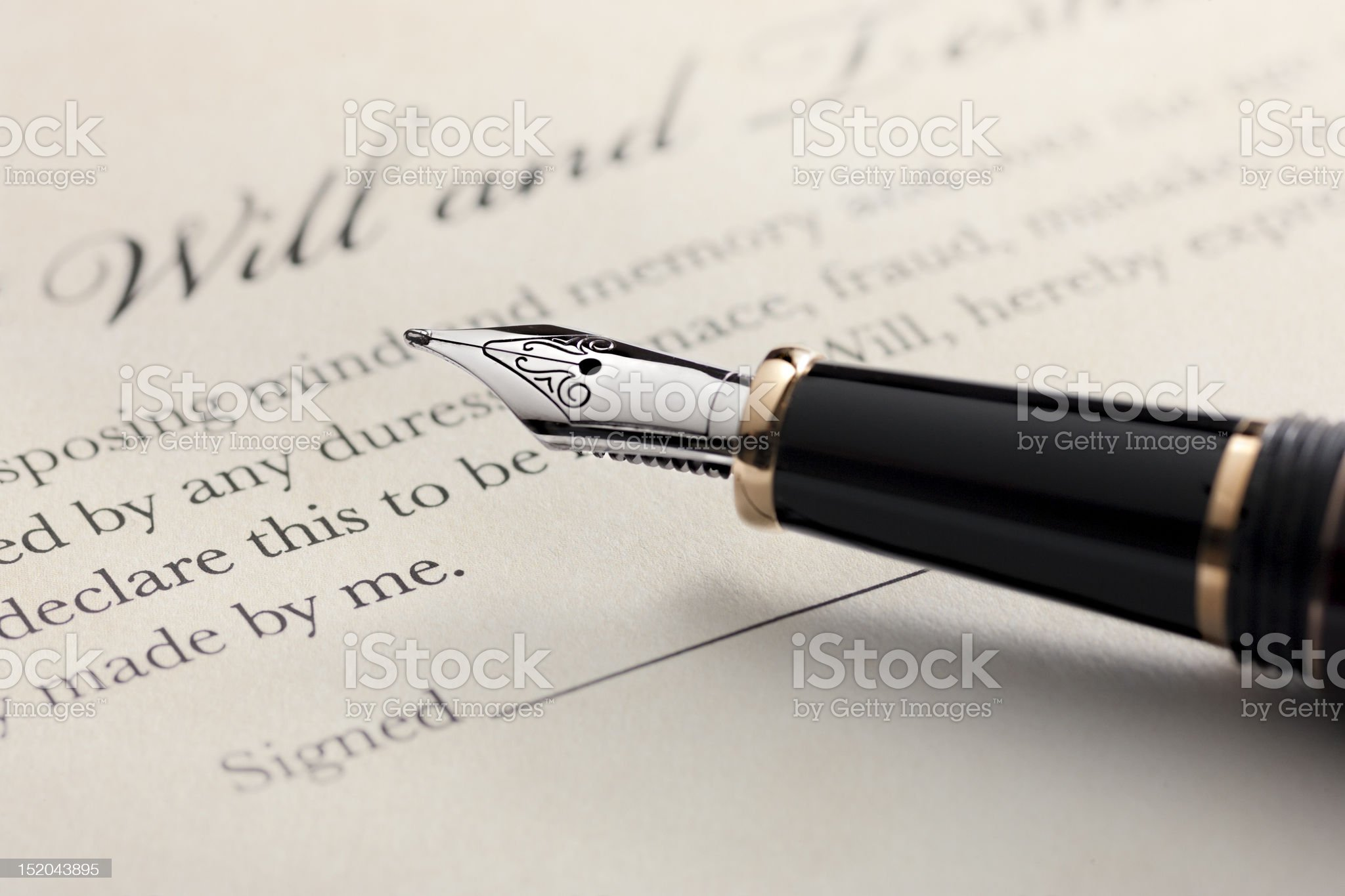 Last Will and Testament with Fountain Pen royalty-free stock photo