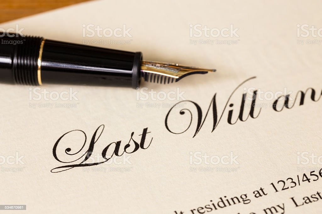 Last will and testament with pen concept for legal document stock photo