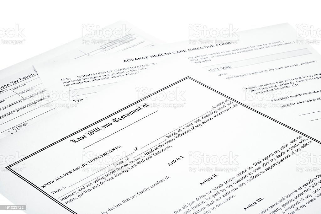Last Will Medical Directive Inheritance Tax Form stock photo