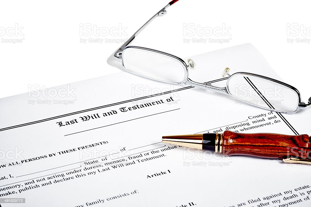 Last Will Medical Directive Tax Form stock photo