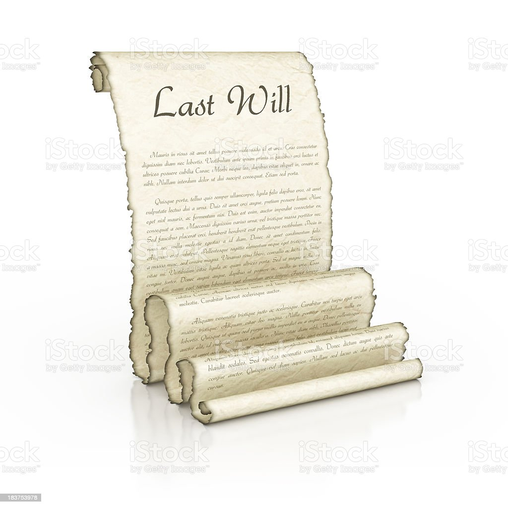 last will parchment stock photo