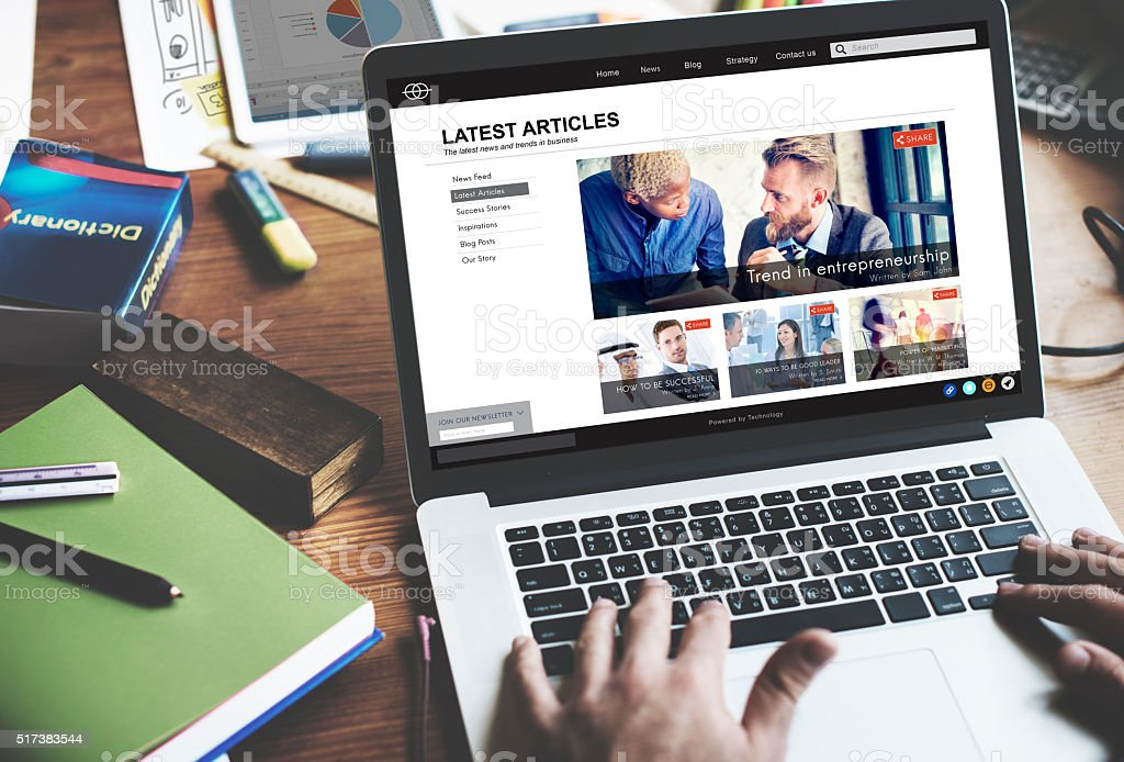Lastest Article Webpage Advertising Announcement Concept stock photo
