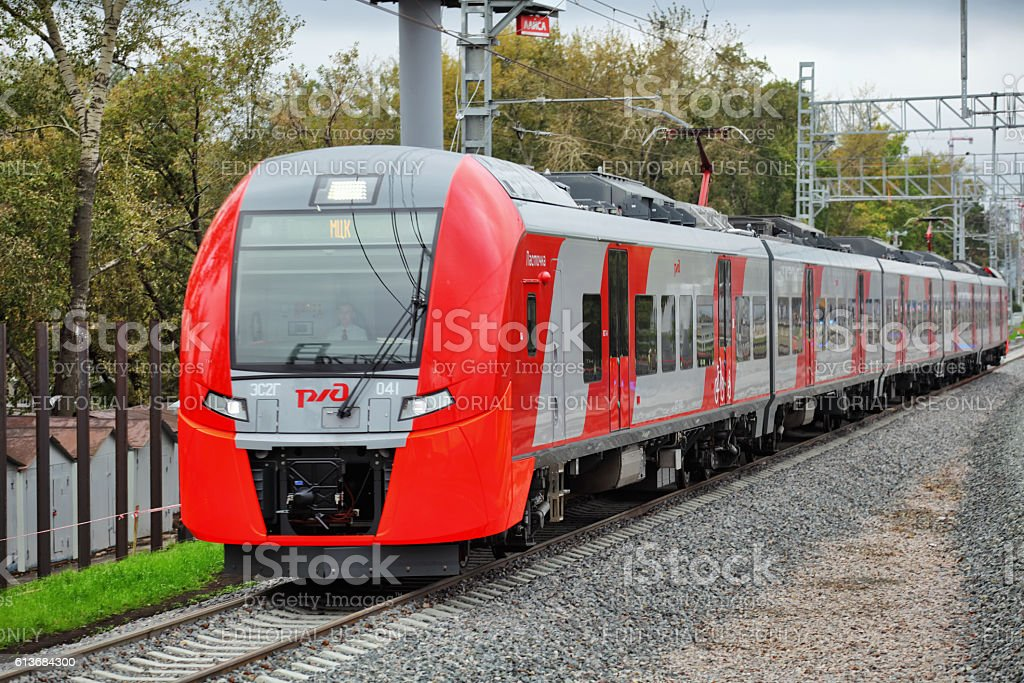 ES2G Lastochka train on Moscow Central Circle line stock photo