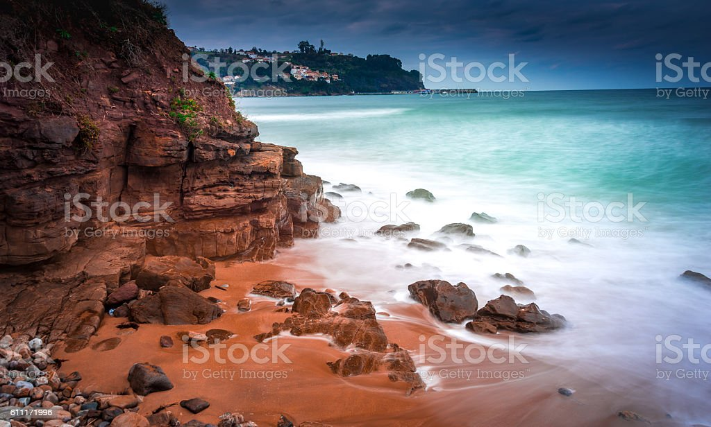 Lastres from the beach of the Greek stock photo