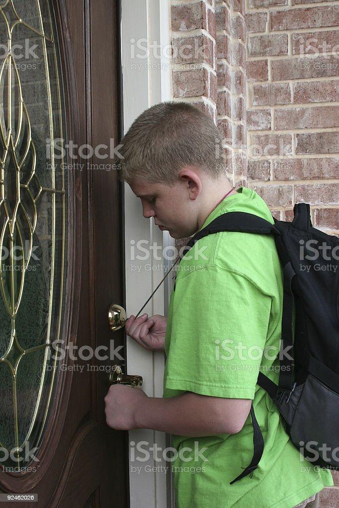 Latch Key Kid stock photo