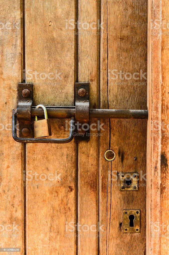 latch with padlock stock photo