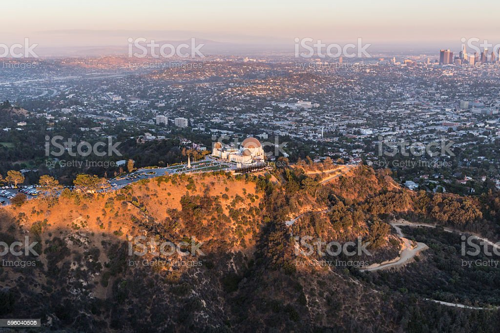 Late Afternoon Aerial of Griffith Park and Los Angeles stock photo