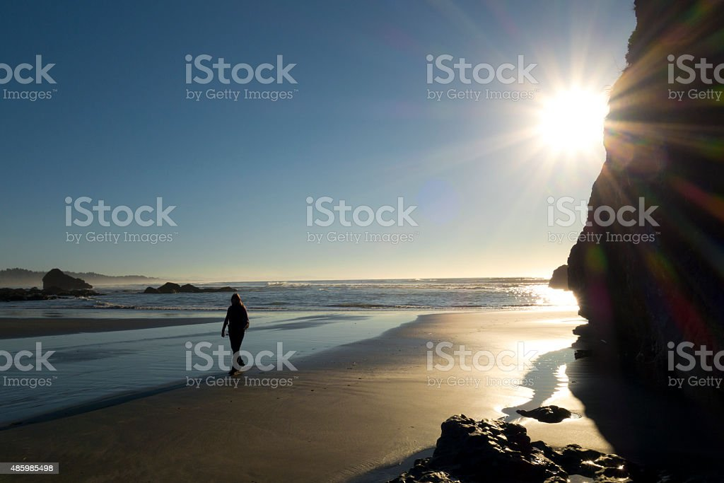 Late afternoon beach stroll stock photo