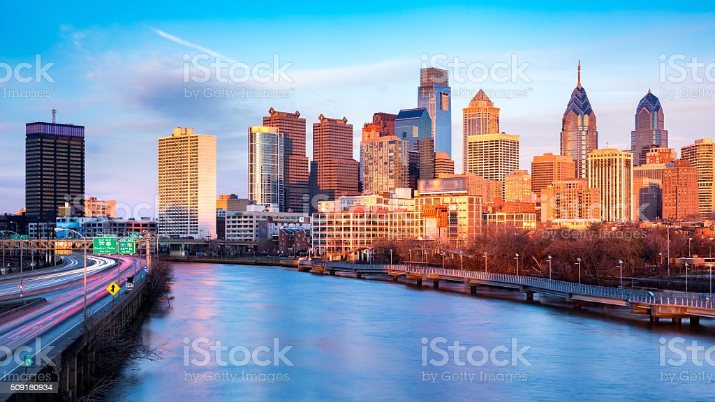 Late afternoon in Philadelphia stock photo