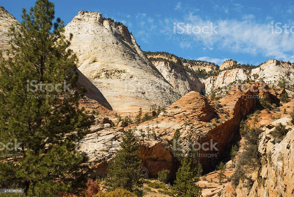 Late afternoon light and shadows Zion National Park Utah stock photo