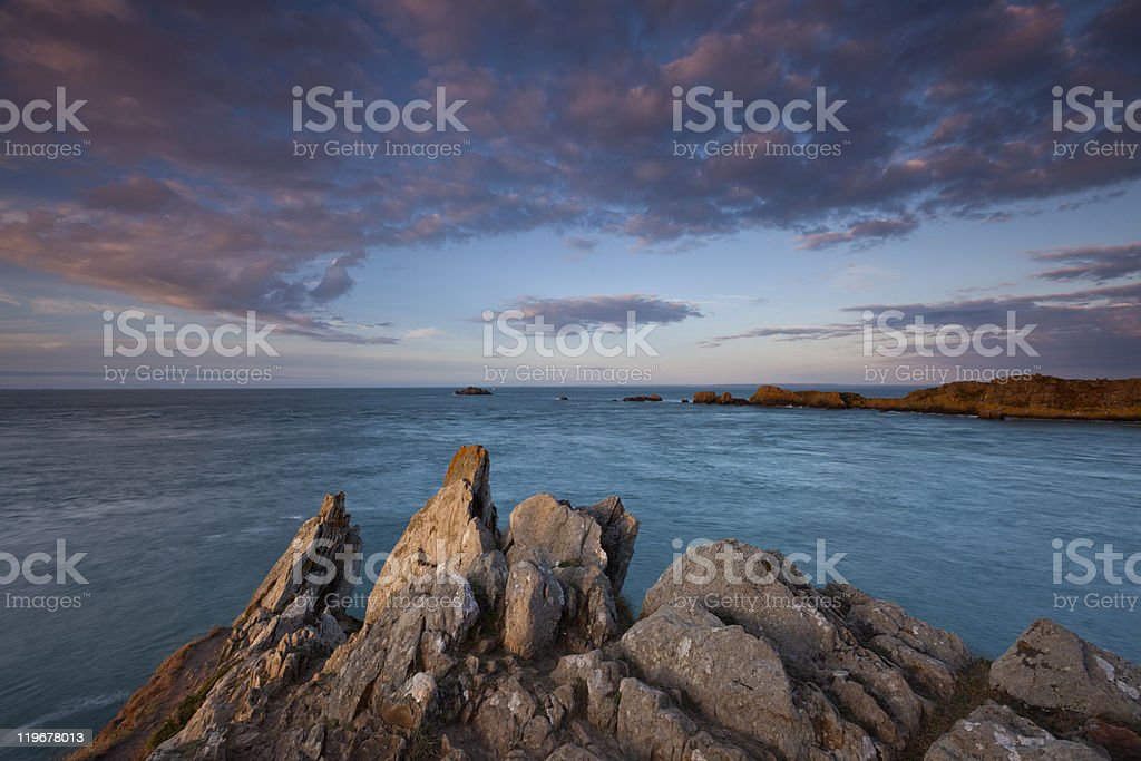 Late afternoon light over the coast of Brittany stock photo