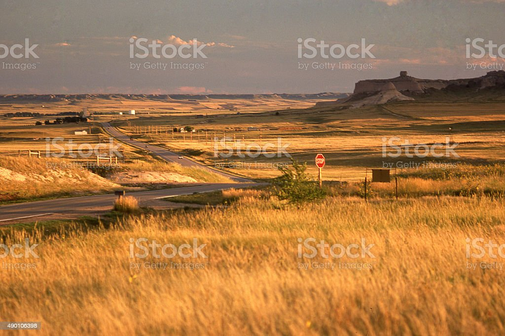 Late afternoon light prairie steppes country road of western Nebraska stock photo