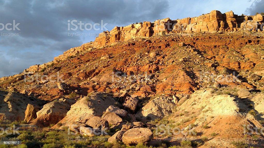 Late afternoon light Shinarump Conglomerate rockfall formation Rockville Utah stock photo