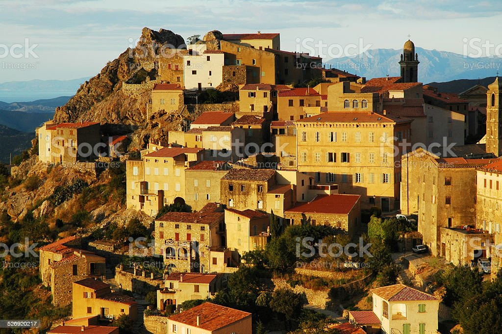 Late afternoon lights in Speloncato village, Corsica stock photo