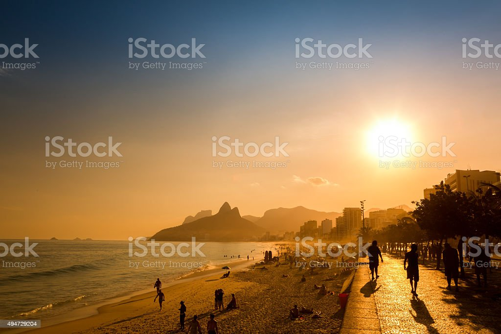 Late afternoon on Ipanema beach in Rio de Janeiro, Brazil stock photo