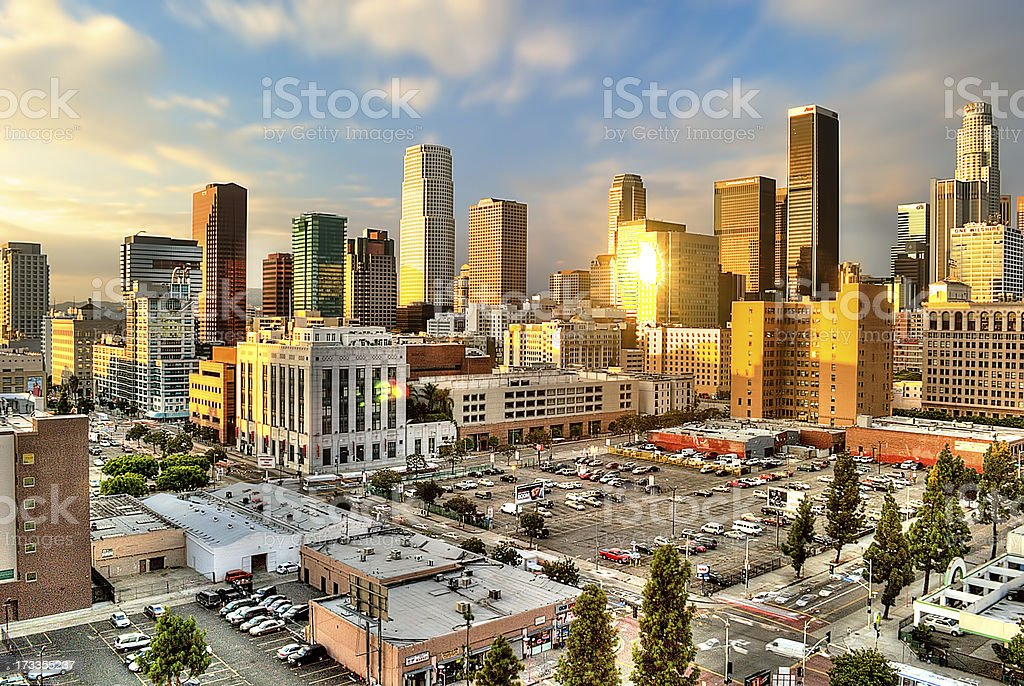 Late Afternoon Sun in Downtown L.A. stock photo