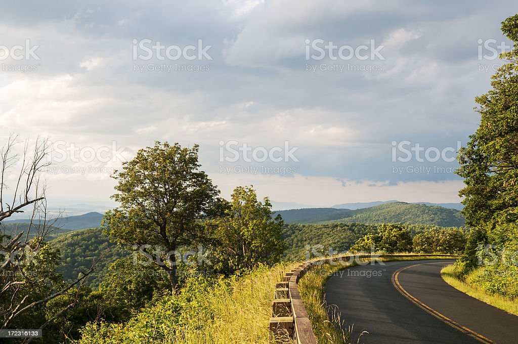 Country highway - Blue Ridge Parkway south of I-64 royalty-free stock photo