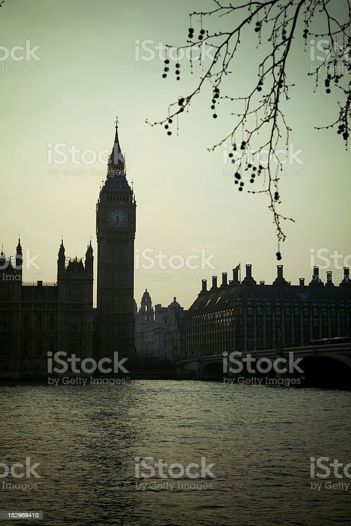Late afternoon view of Big Ben over the River Thames stock photo