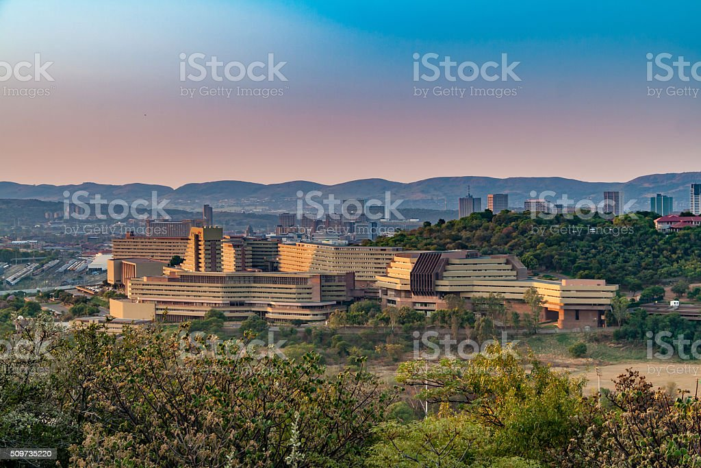 Late afternoon view of UNISA, Pretoria, from Fort Klapperkop stock photo